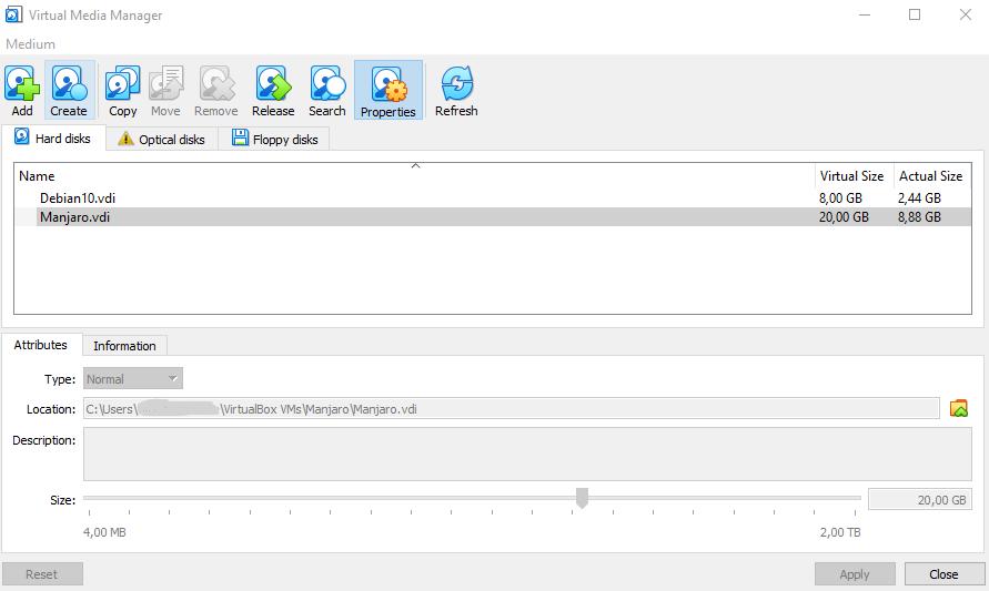 VirtualBox Virtual Media Manager